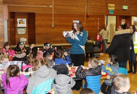 Students enjoy a visit from a Washington State Dairy Ambassador