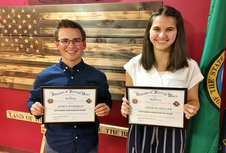 "Jaden Anderson and Natalie Keller were honored for their work on ""What Makes America Great."""
