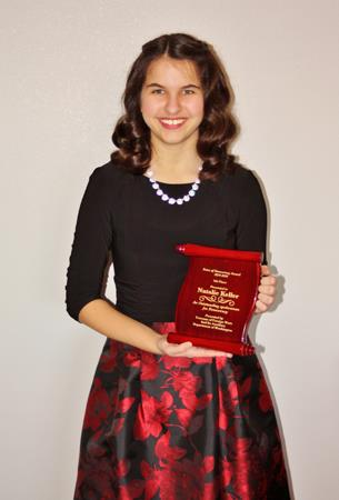 Congratulations to Natalie Keller for earning fifth place honors at the State Voice of Democracy contest in January.