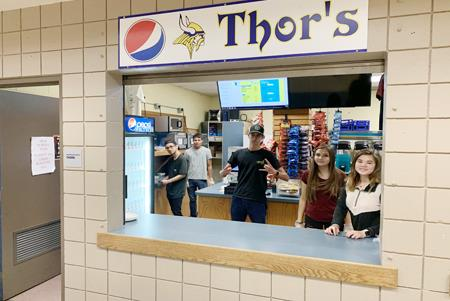 Students prepare their skills to work in the Thor Store.