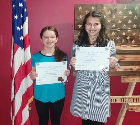 "Middle school students Hannah Rees and Natalie Keller have the ""write"" stuff and were honored for their Patriots Pen essay."